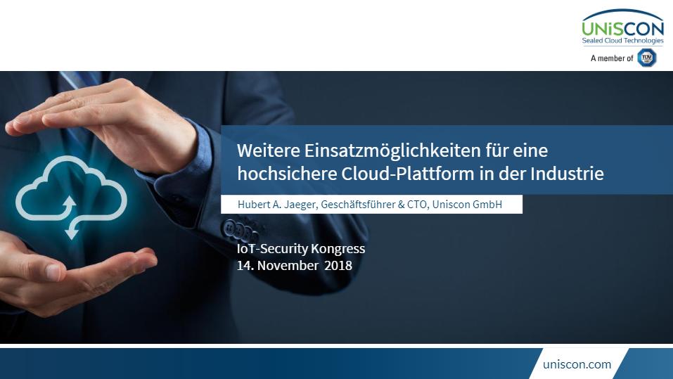 Vortrag Hubert Jäger - Weitere Einsatzmöglichkeiten Cloud-Plattform